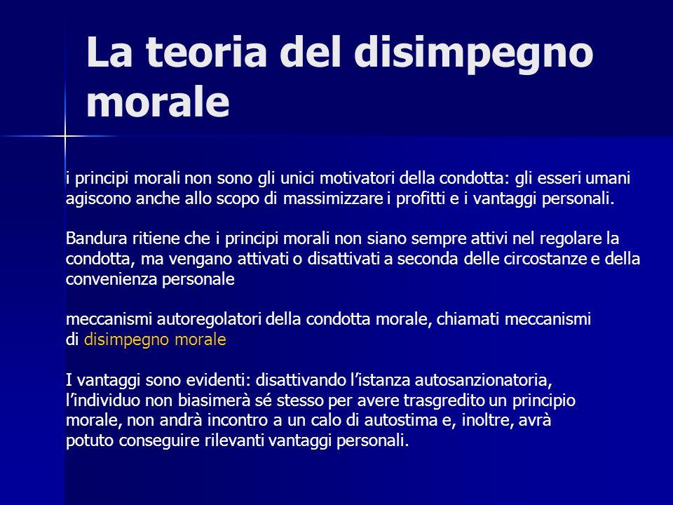 La teoria del disimpegno morale i principi morali non sono gli unici motivatori della condotta: gli esseri umani agiscono anche allo scopo di massimiz