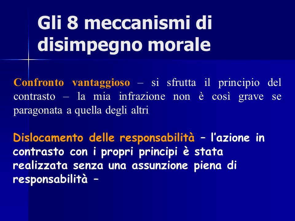 Gli 8 meccanismi di disimpegno morale Confronto vantaggioso – si sfrutta il principio del contrasto – la mia infrazione non è così grave se paragonata