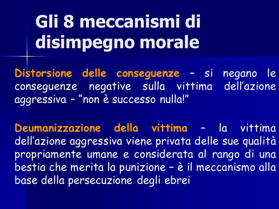 Gli 8 meccanismi di disimpegno morale Distorsione delle conseguenze – si negano le conseguenze negative sulla vittima dellazione aggressiva – non è su
