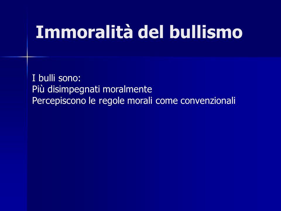 Immoralità del bullismo I bulli sono: Più disimpegnati moralmente Percepiscono le regole morali come convenzionali