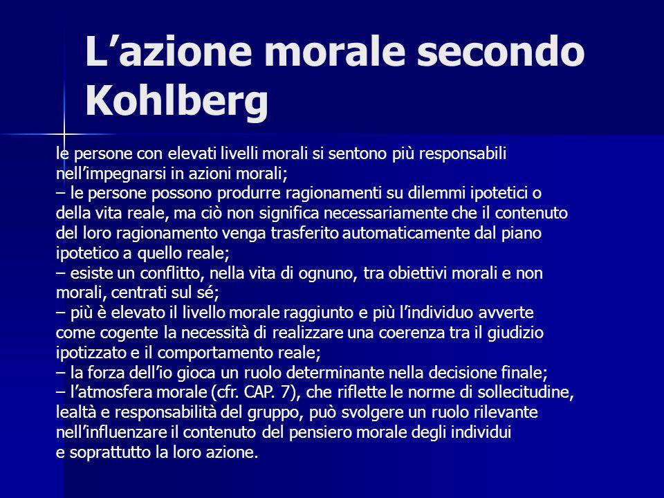 Lazione morale secondo Kohlberg le persone con elevati livelli morali si sentono più responsabili nellimpegnarsi in azioni morali; – le persone posson