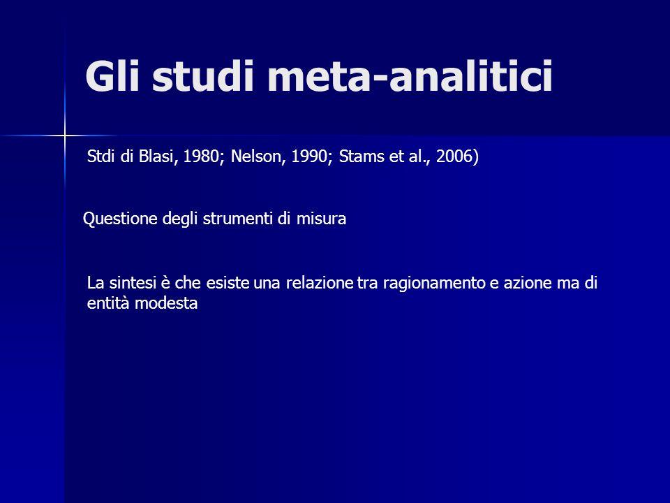 Gli studi meta-analitici Questione degli strumenti di misura Stdi di Blasi, 1980; Nelson, 1990; Stams et al., 2006) La sintesi è che esiste una relazi