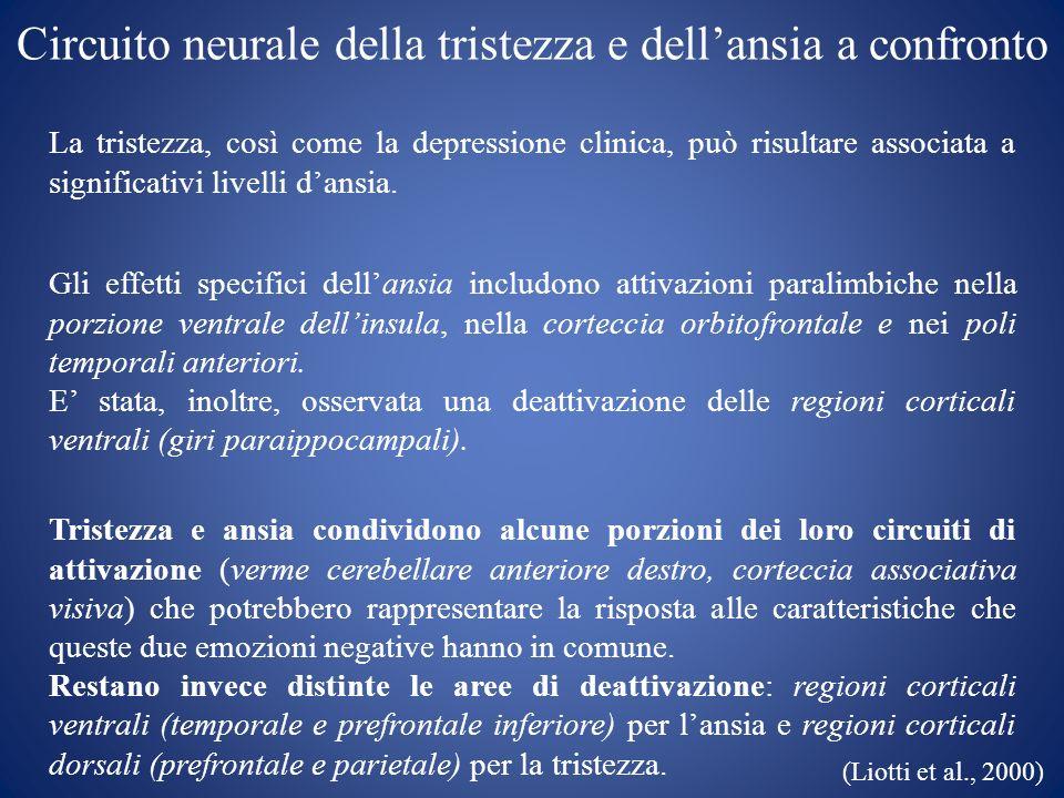 Circuito neurale della tristezza e dellansia a confronto La tristezza, così come la depressione clinica, può risultare associata a significativi livel