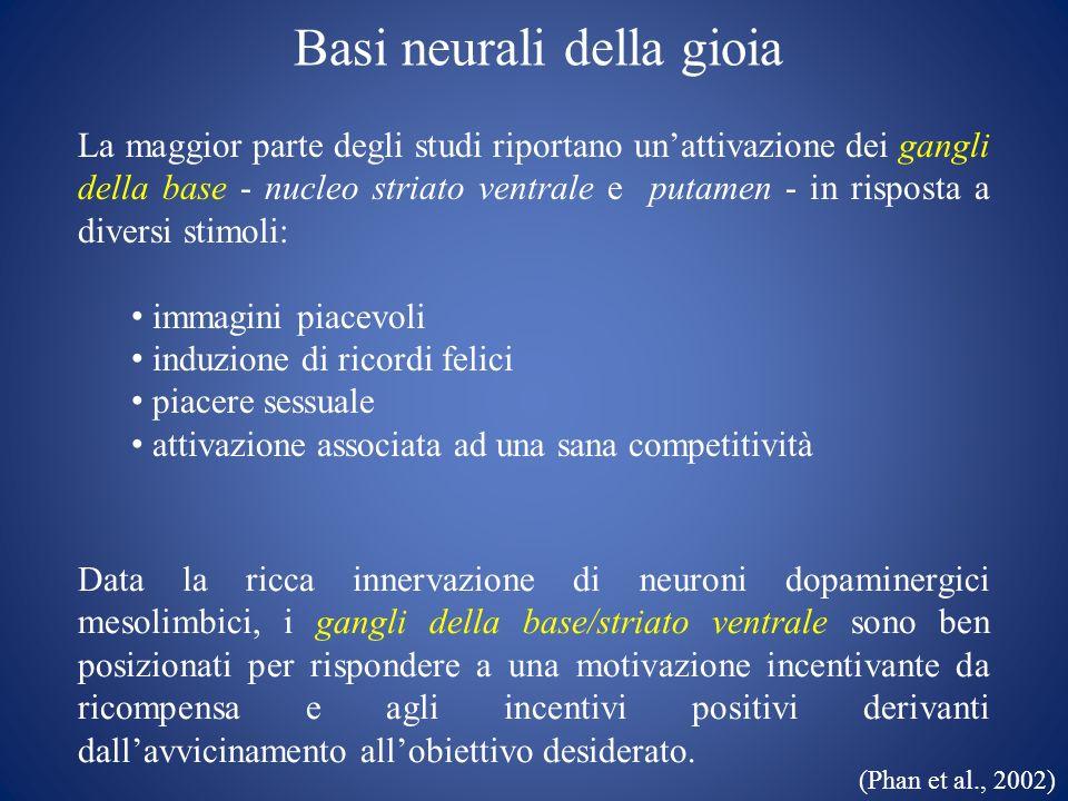 Basi neurali della gioia La maggior parte degli studi riportano unattivazione dei gangli della base - nucleo striato ventrale e putamen - in risposta