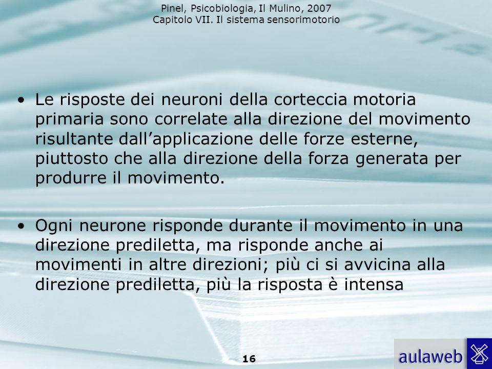 Pinel, Psicobiologia, Il Mulino, 2007 Capitolo VII. Il sistema sensorimotorio 16 Le risposte dei neuroni della corteccia motoria primaria sono correla