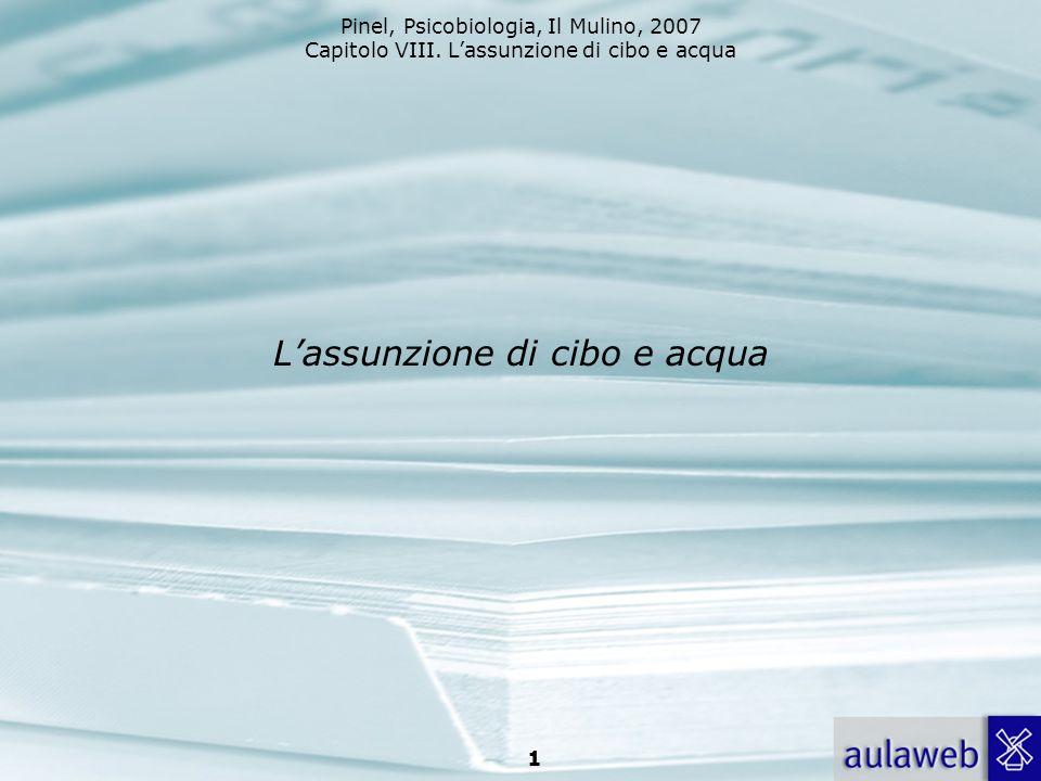 Pinel, Psicobiologia, Il Mulino, 2007 Capitolo VIII. Lassunzione di cibo e acqua 1 Lassunzione di cibo e acqua