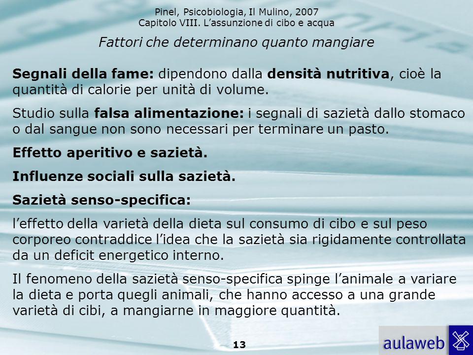 Pinel, Psicobiologia, Il Mulino, 2007 Capitolo VIII. Lassunzione di cibo e acqua 13 Fattori che determinano quanto mangiare Segnali della fame: dipend