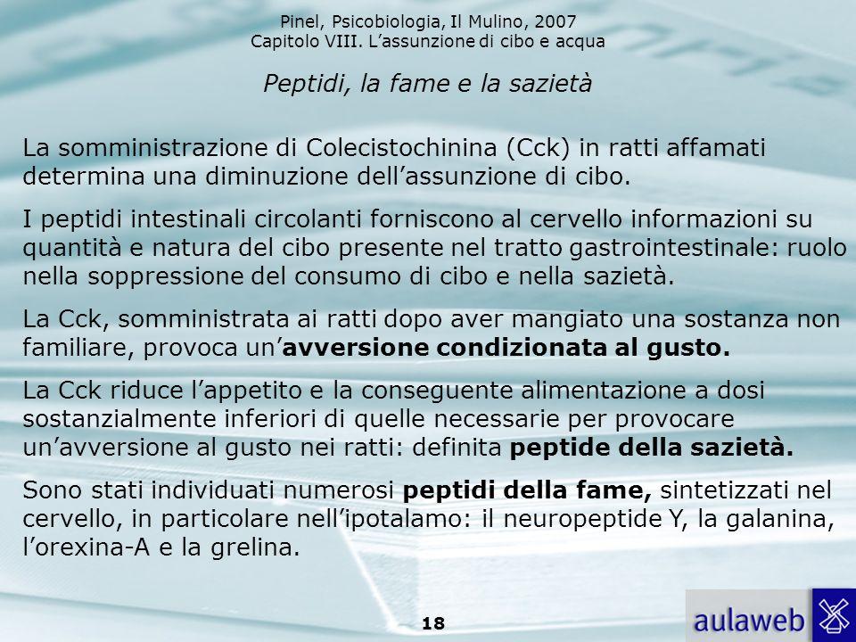 Pinel, Psicobiologia, Il Mulino, 2007 Capitolo VIII. Lassunzione di cibo e acqua 18 Peptidi, la fame e la sazietà La somministrazione di Colecistochin