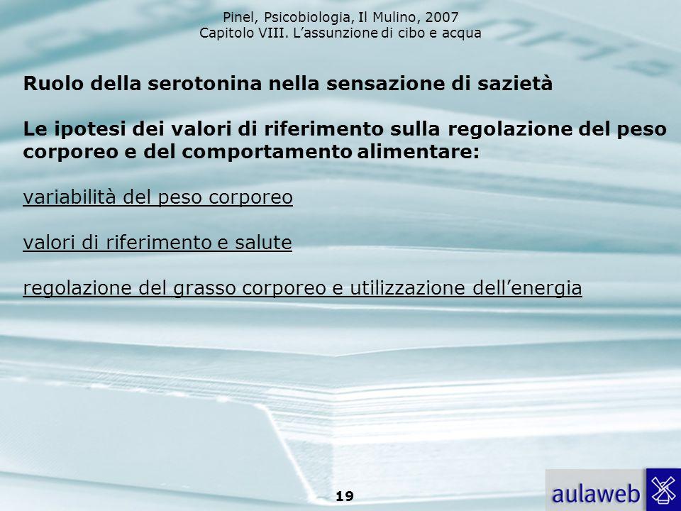 Pinel, Psicobiologia, Il Mulino, 2007 Capitolo VIII. Lassunzione di cibo e acqua 19 Ruolo della serotonina nella sensazione di sazietà Le ipotesi dei