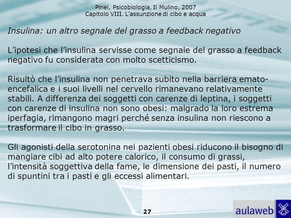 Pinel, Psicobiologia, Il Mulino, 2007 Capitolo VIII. Lassunzione di cibo e acqua 27 Insulina: un altro segnale del grasso a feedback negativo Lipotesi