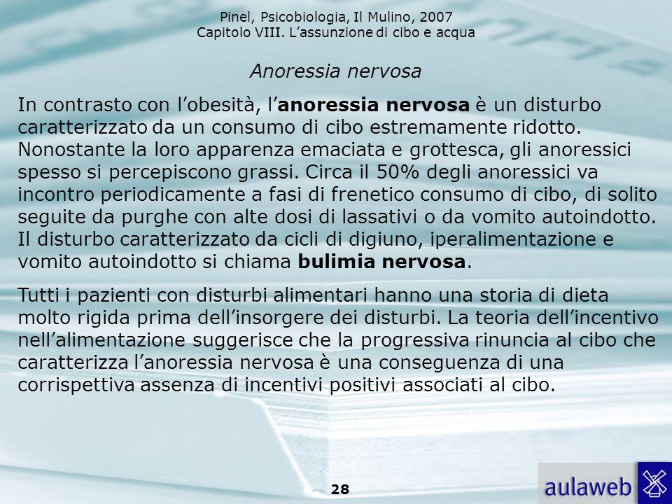 Pinel, Psicobiologia, Il Mulino, 2007 Capitolo VIII. Lassunzione di cibo e acqua 28 Anoressia nervosa In contrasto con lobesità, lanoressia nervosa è
