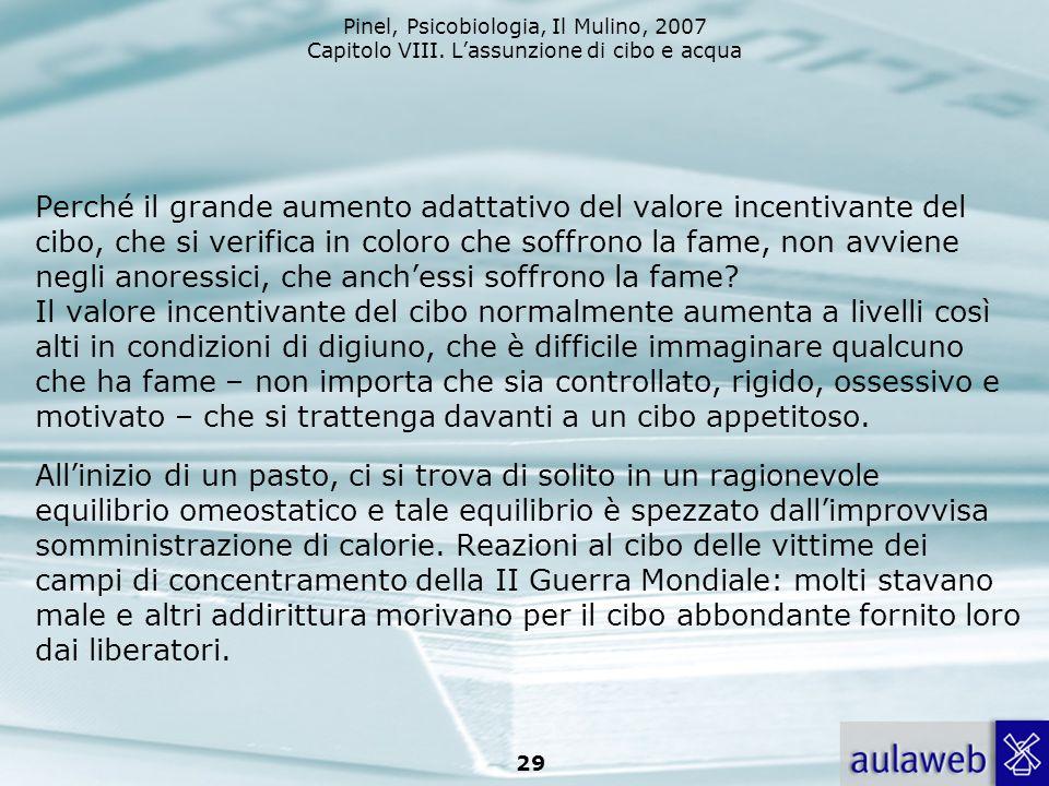 Pinel, Psicobiologia, Il Mulino, 2007 Capitolo VIII. Lassunzione di cibo e acqua 29 Perché il grande aumento adattativo del valore incentivante del ci