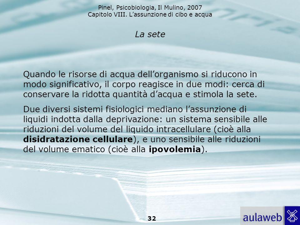 Pinel, Psicobiologia, Il Mulino, 2007 Capitolo VIII. Lassunzione di cibo e acqua 32 La sete Quando le risorse di acqua dellorganismo si riducono in mo