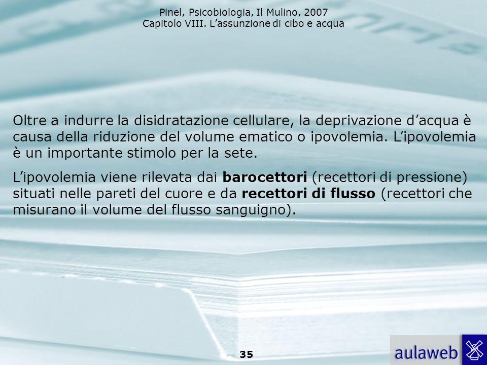 Pinel, Psicobiologia, Il Mulino, 2007 Capitolo VIII. Lassunzione di cibo e acqua 35 Oltre a indurre la disidratazione cellulare, la deprivazione dacqu