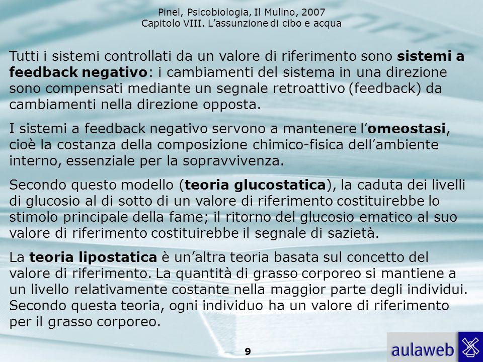 9 Tutti i sistemi controllati da un valore di riferimento sono sistemi a feedback negativo: i cambiamenti del sistema in una direzione sono compensati
