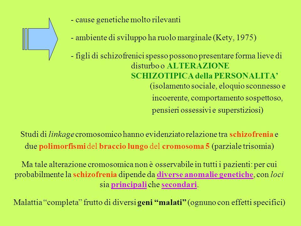 - cause genetiche molto rilevanti - ambiente di sviluppo ha ruolo marginale (Kety, 1975) - figli di schizofrenici spesso possono presentare forma liev