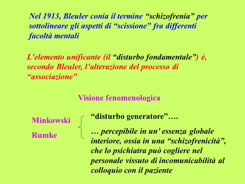 Nel 1913, Bleuler conia il termine schizofrenia per sottolineare gli aspetti di scissione fra differenti facoltà mentali Lelemento unificante (il dist