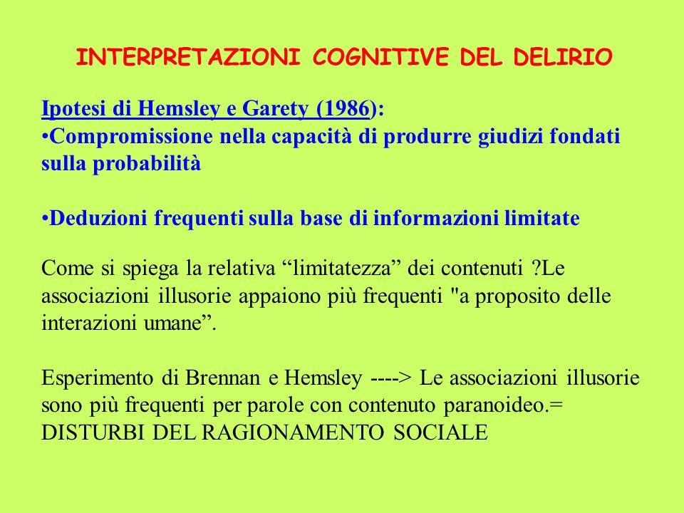 INTERPRETAZIONI COGNITIVE DEL DELIRIO Ipotesi di Hemsley e Garety (1986): Compromissione nella capacità di produrre giudizi fondati sulla probabilità