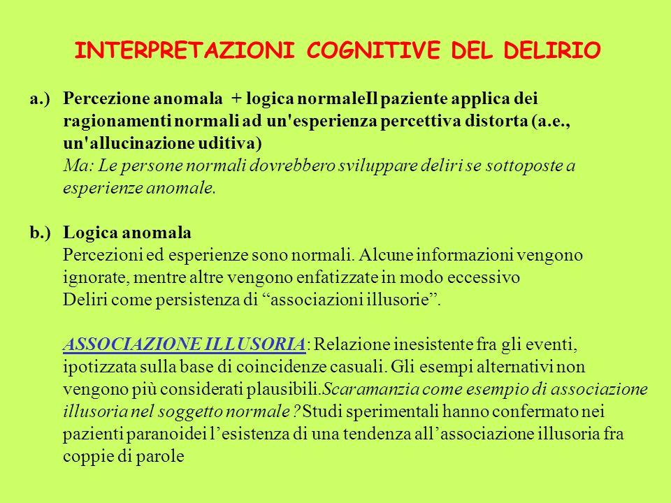 INTERPRETAZIONI COGNITIVE DEL DELIRIO a.)Percezione anomala + logica normaleIl paziente applica dei ragionamenti normali ad un'esperienza percettiva d