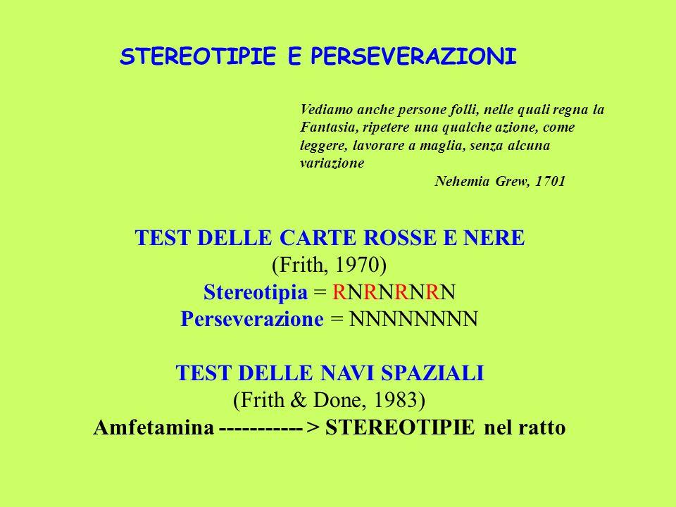 TEST DELLE CARTE ROSSE E NERE (Frith, 1970) Stereotipia = RNRNRNRN Perseverazione = NNNNNNNN TEST DELLE NAVI SPAZIALI (Frith & Done, 1983) Amfetamina