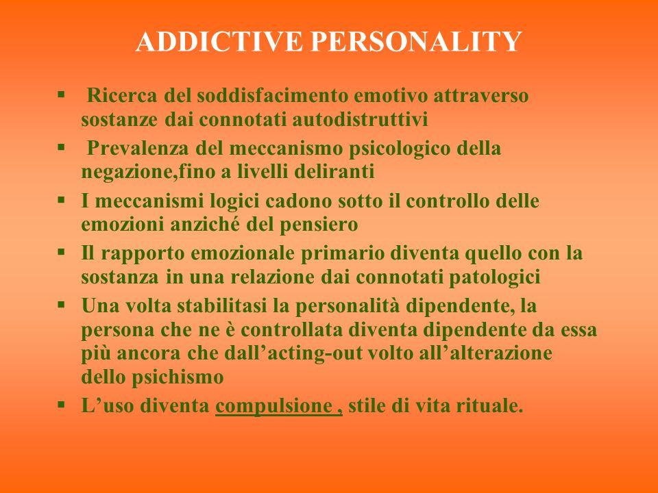 ADDICTIVE PERSONALITY Ricerca del soddisfacimento emotivo attraverso sostanze dai connotati autodistruttivi Prevalenza del meccanismo psicologico dell