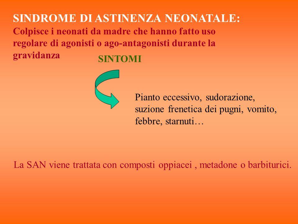 SINDROME DI ASTINENZA NEONATALE: Colpisce i neonati da madre che hanno fatto uso regolare di agonisti o ago-antagonisti durante la gravidanza SINTOMI