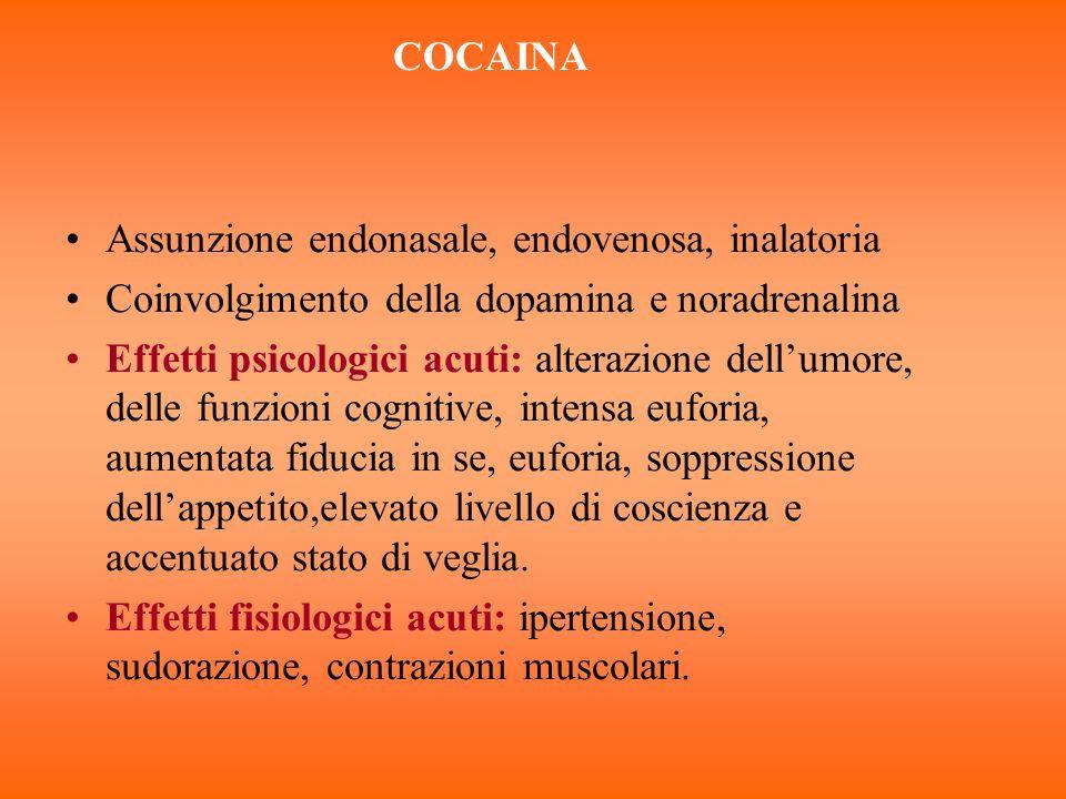 COCAINA Assunzione endonasale, endovenosa, inalatoria Coinvolgimento della dopamina e noradrenalina Effetti psicologici acuti: alterazione dellumore,