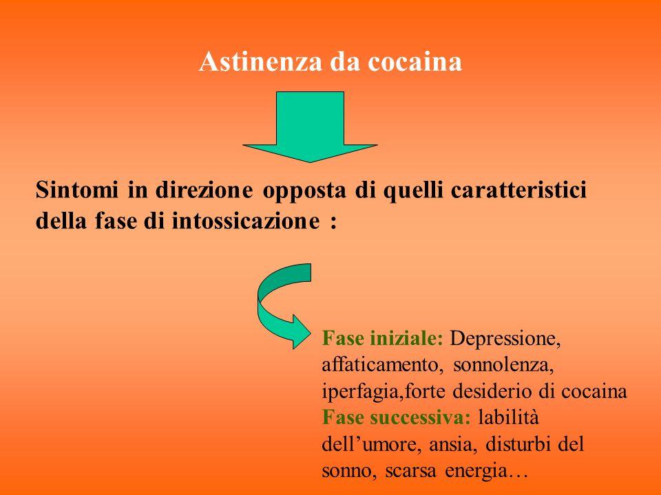 Astinenza da cocaina Sintomi in direzione opposta di quelli caratteristici della fase di intossicazione : Fase iniziale: Depressione, affaticamento, s