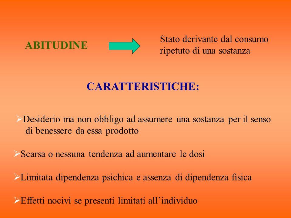 ABITUDINE Stato derivante dal consumo ripetuto di una sostanza CARATTERISTICHE: Desiderio ma non obbligo ad assumere una sostanza per il senso di bene