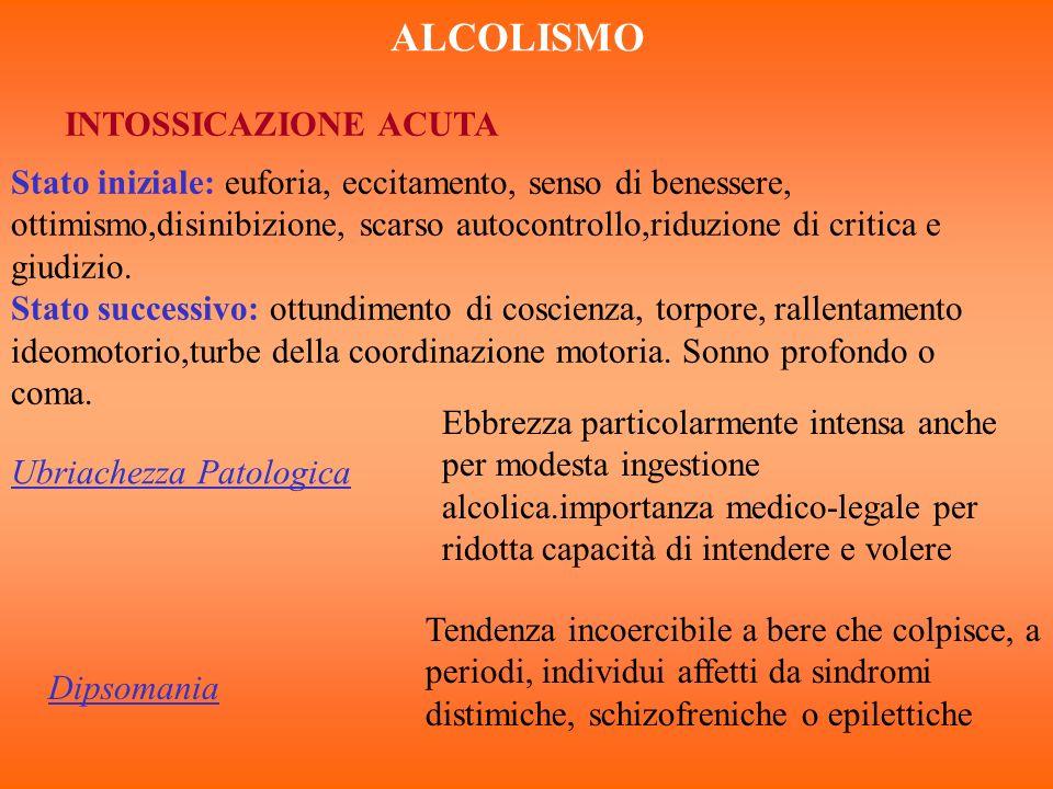 ALCOLISMO INTOSSICAZIONE ACUTA Stato iniziale: euforia, eccitamento, senso di benessere, ottimismo,disinibizione, scarso autocontrollo,riduzione di cr