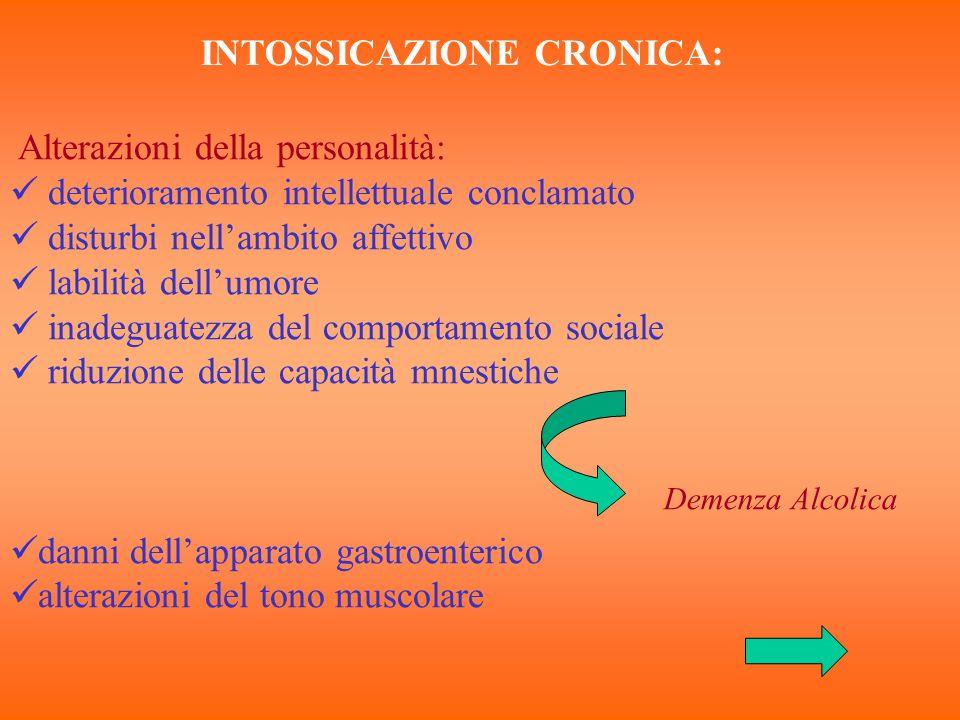 INTOSSICAZIONE CRONICA: Alterazioni della personalità: deterioramento intellettuale conclamato disturbi nellambito affettivo labilità dellumore inadeg