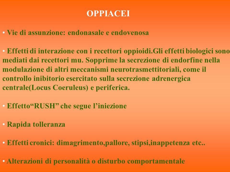 OPPIACEI Vie di assunzione: endonasale e endovenosa Effetti di interazione con i recettori oppioidi.Gli effetti biologici sono mediati dai recettori m