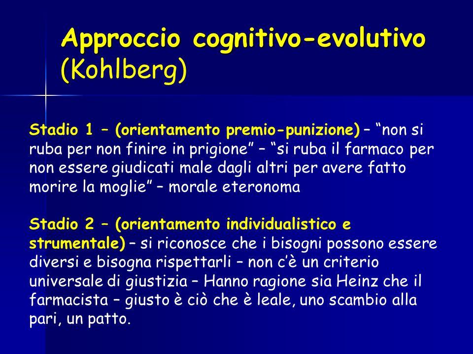 Approccio cognitivo-evolutivo ( Approccio cognitivo-evolutivo (Kohlberg) Stadio 1 – (orientamento premio-punizione) – non si ruba per non finire in pr