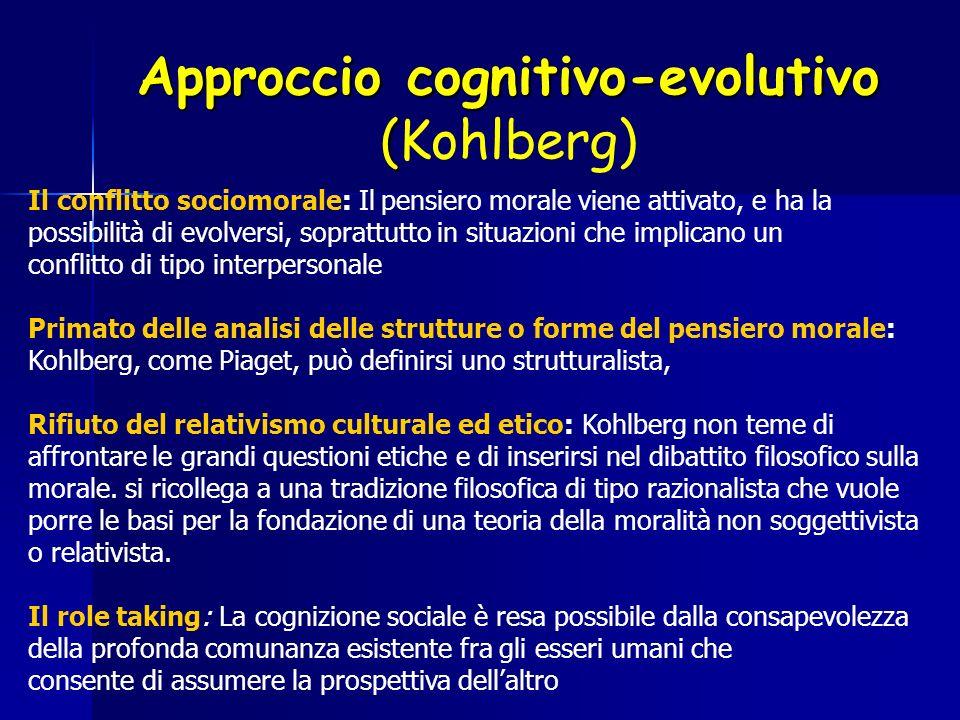 Approccio cognitivo-evolutivo ( Approccio cognitivo-evolutivo (Kohlberg) Il conflitto sociomorale: Il pensiero morale viene attivato, e ha la possibil