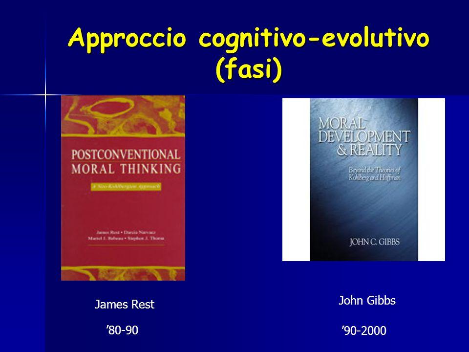 Approccio cognitivo-evolutivo (fasi) John Gibbs James Rest 80-90 90-2000