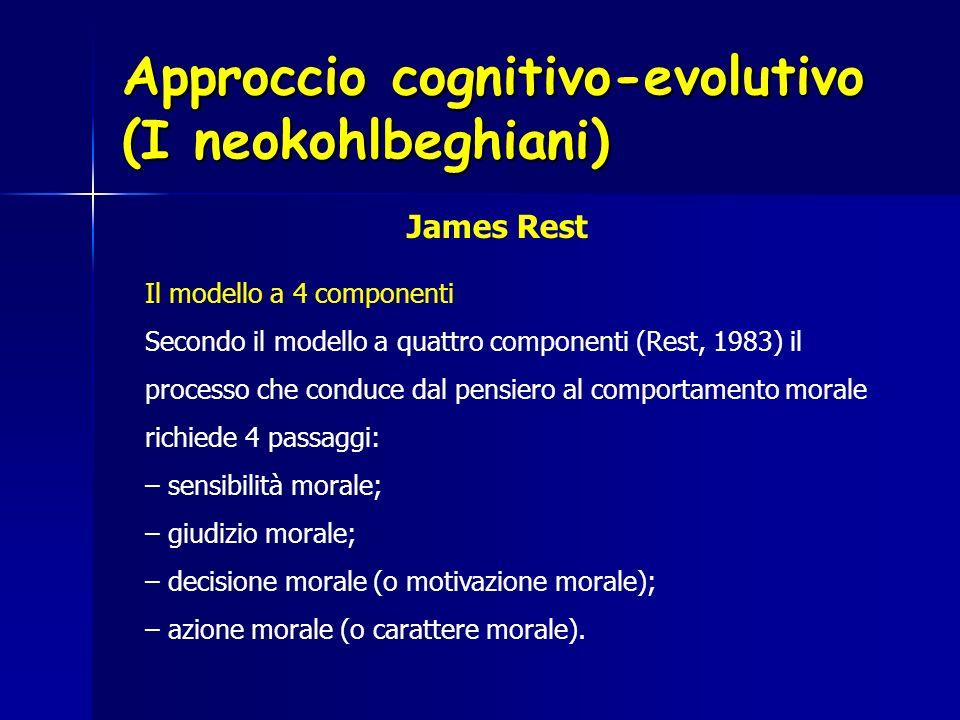 Approccio cognitivo-evolutivo (I neokohlbeghiani) Il modello a 4 componenti Secondo il modello a quattro componenti (Rest, 1983) il processo che condu