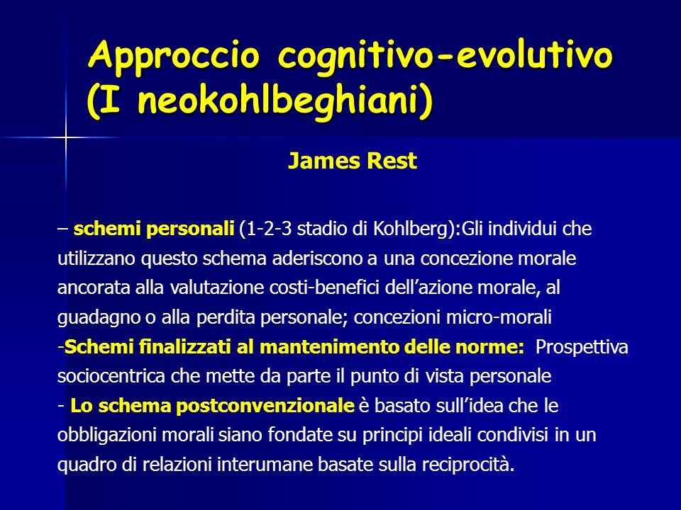 Approccio cognitivo-evolutivo (I neokohlbeghiani) James Rest – schemi personali (1-2-3 stadio di Kohlberg):Gli individui che utilizzano questo schema