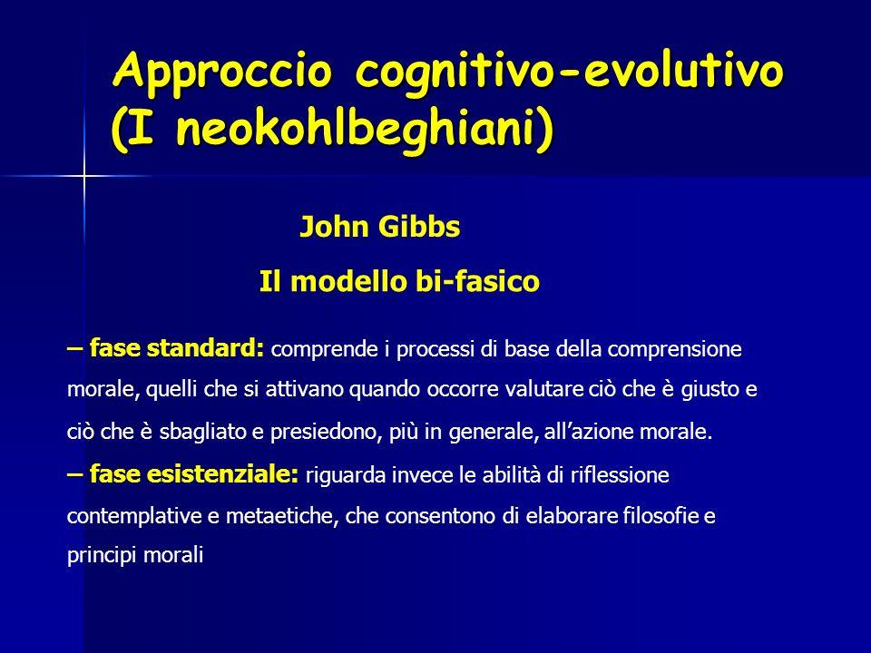 Approccio cognitivo-evolutivo (I neokohlbeghiani) John Gibbs Il modello bi-fasico – fase standard: comprende i processi di base della comprensione mor