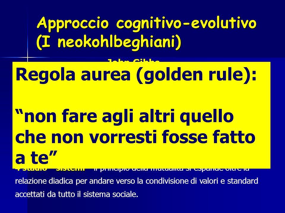 Approccio cognitivo-evolutivo (I neokohlbeghiani) John Gibbs Il modello bi-fasico I livelli maturi fanno riferimento a basi ideali intangibili (concet