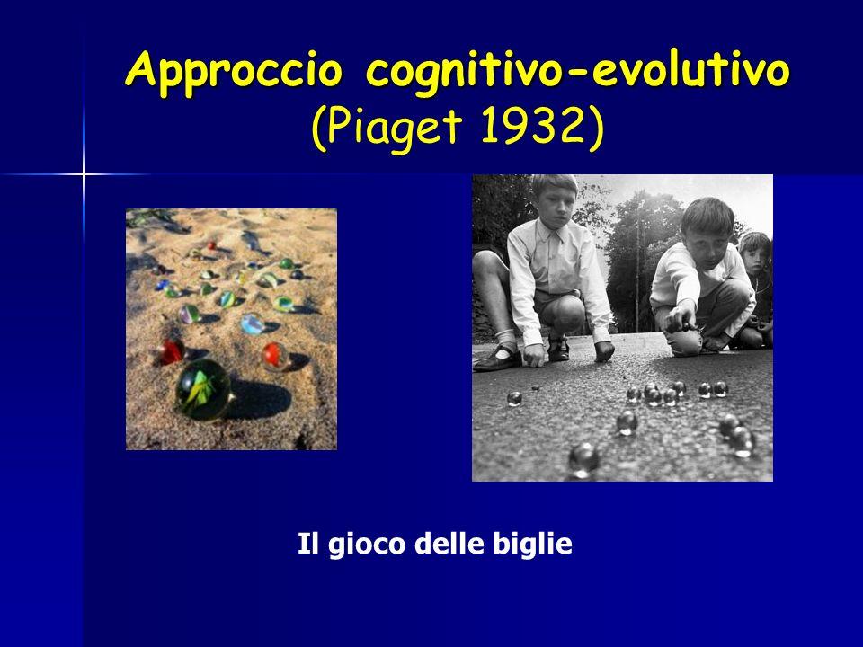 Approccio cognitivo-evolutivo ( Approccio cognitivo-evolutivo (Piaget 1932) Il gioco delle biglie