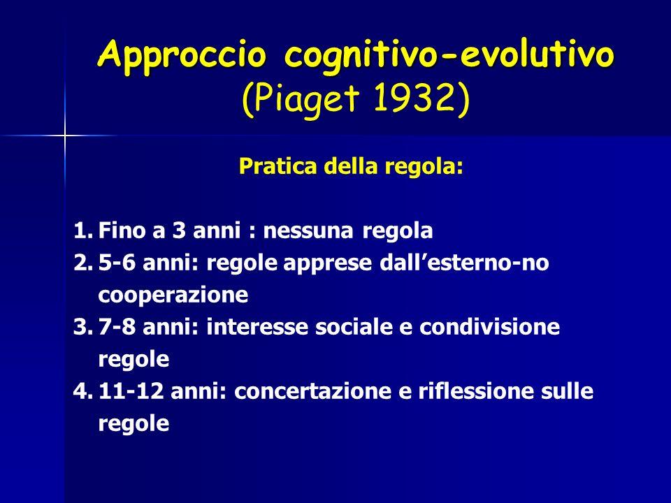 Approccio cognitivo-evolutivo ( Approccio cognitivo-evolutivo (Piaget 1932) Pratica della regola: 1.Fino a 3 anni : nessuna regola 2.5-6 anni: regole