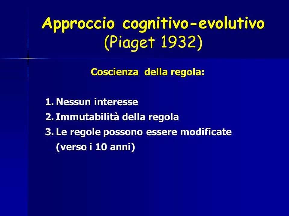 Coscienza della regola: 1.Nessun interesse 2.Immutabilità della regola 3.Le regole possono essere modificate (verso i 10 anni) Approccio cognitivo-evo