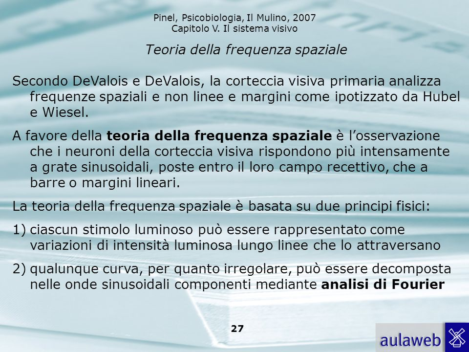 Pinel, Psicobiologia, Il Mulino, 2007 Capitolo V. Il sistema visivo 27 Teoria della frequenza spaziale Secondo DeValois e DeValois, la corteccia visiv