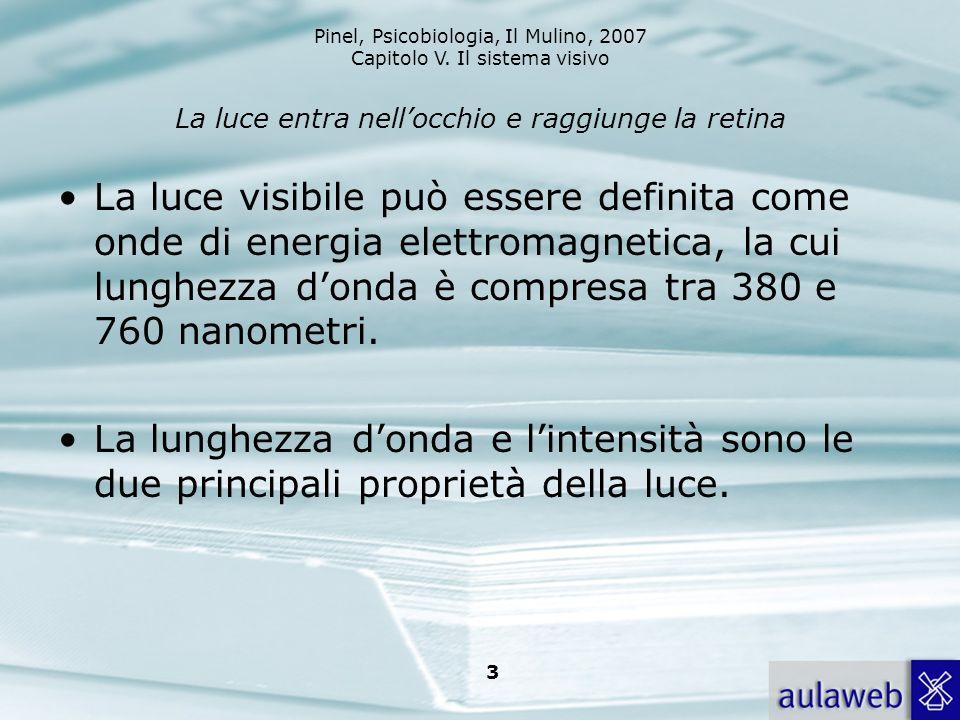 Pinel, Psicobiologia, Il Mulino, 2007 Capitolo V. Il sistema visivo 3 La luce entra nellocchio e raggiunge la retina La luce visibile può essere defin