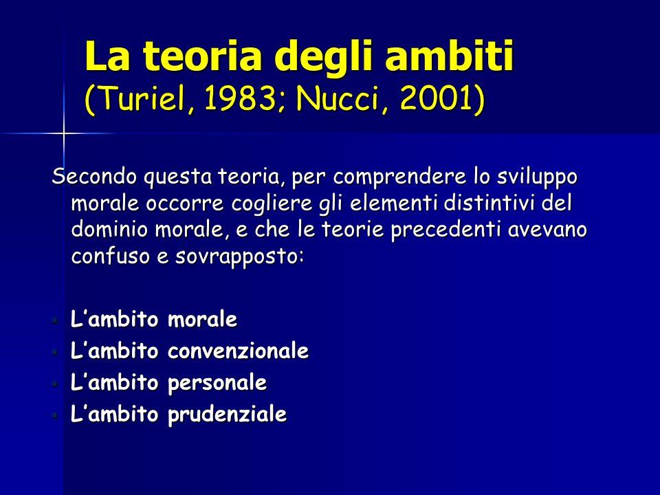 La teoria degli ambiti (Turiel, 1983; Nucci, 2001) Secondo questa teoria, per comprendere lo sviluppo morale occorre cogliere gli elementi distintivi