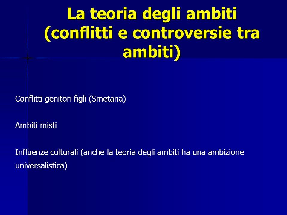 La teoria degli ambiti (conflitti e controversie tra ambiti) Conflitti genitori figli (Smetana) Ambiti misti Influenze culturali (anche la teoria degl