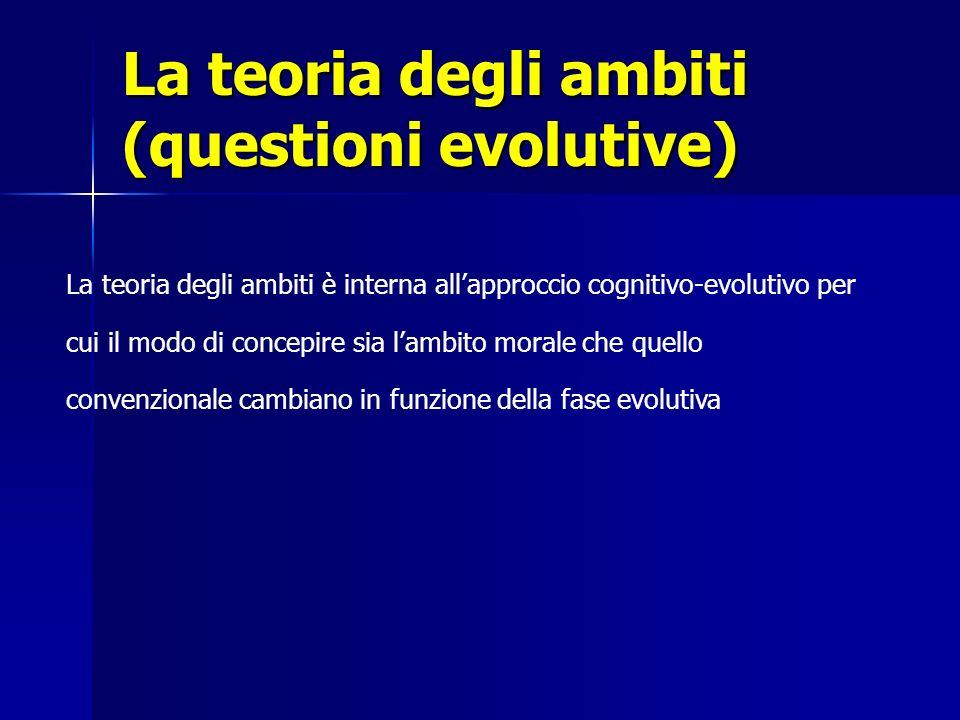 La teoria degli ambiti (questioni evolutive) La teoria degli ambiti è interna allapproccio cognitivo-evolutivo per cui il modo di concepire sia lambit