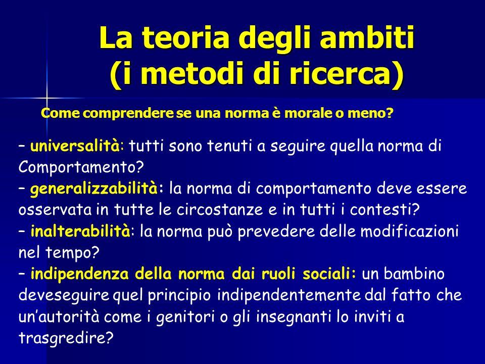 La teoria degli ambiti (i metodi di ricerca) – universalità: tutti sono tenuti a seguire quella norma di Comportamento? – generalizzabilità: la norma
