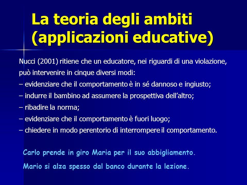 La teoria degli ambiti (applicazioni educative) Nucci (2001) ritiene che un educatore, nei riguardi di una violazione, può intervenire in cinque diver