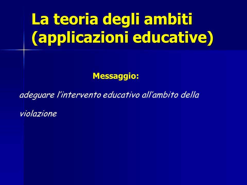 La teoria degli ambiti (applicazioni educative) Messaggio: adeguare lintervento educativo allambito della violazione